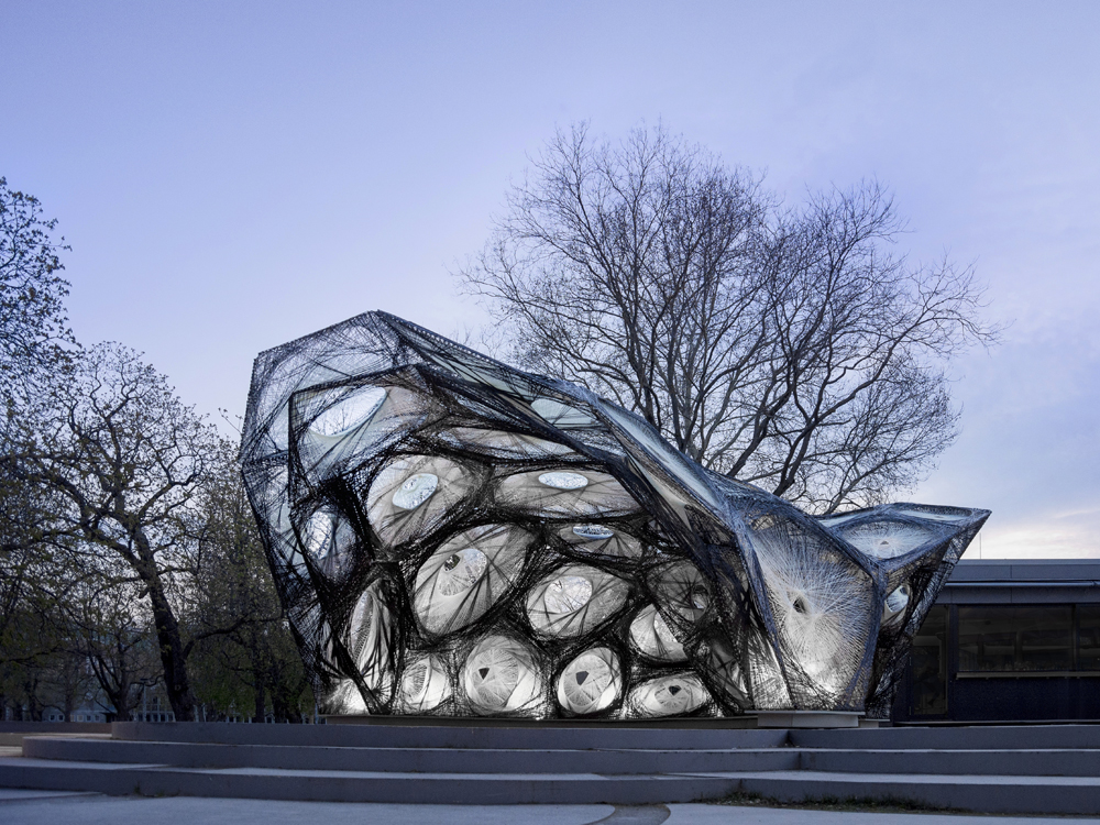 A Robot-Built Pavilion Modeled After a Flying Beetle